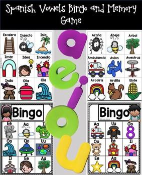 Spanish Vowels Bingo and Memory Game