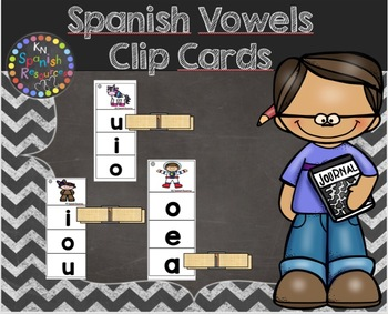 Spanish Vowels Clip Cards