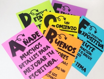 Spanish WRITING Alphabet Posters (A-Z) with WRITING Skills for Grades 3-5!