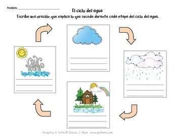 Spanish: Water Cycle Worksheets (El ciclo del agua) by Vero DuMont