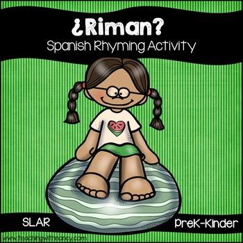 Spanish: Watermelon Rhyming Task Cards