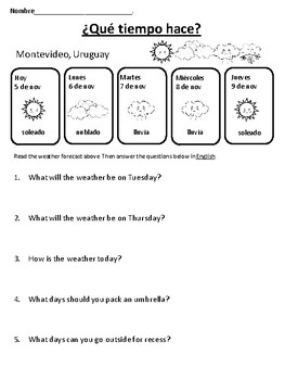 Spanish Weather Activity Pack with Authentic Resources