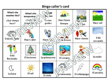 Spanish Weather Bingo - 30 unique cards and vocab sheet included