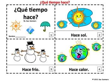 Spanish Weather 2 Emergent Reader Booklets - Que Tiempo Hace?