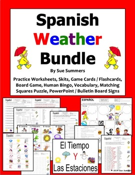 spanish weather bundle worksheets vocabulary skit game cards and more. Black Bedroom Furniture Sets. Home Design Ideas