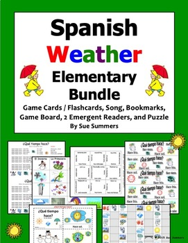 Spanish Weather Bundle for Elementary - Game Cards, Board Game, Puzzle, and Song