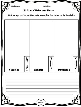 Spanish Weather Clima Tiempo Read & Draw & Write Comprehension Worksheets