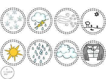Spanish Weather El Clima El Tiempo Interactive Vocabulary Matching Disks