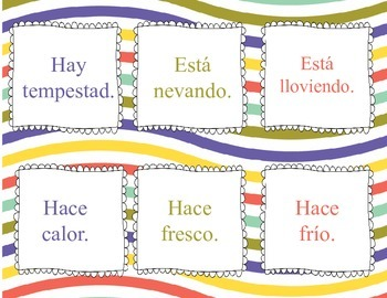 Spanish Weather El Tiempo Memory Game