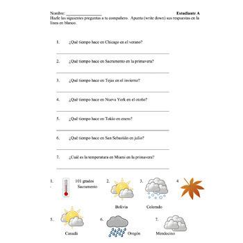 Spanish Weather El tiempo Paired Speaking Activities