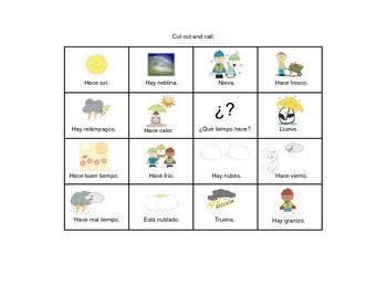 Spanish Weather Expressions Bingo