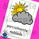 Spanish Weather Flash Cards. Hot, cloudy, typhoon, tornado, sunny, thermometer..
