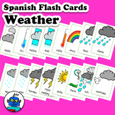 Spanish Weather Flash Cards. Hot, cloudy, typhoon, tornado
