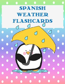 Spanish Weather Flashcards on single 8.5x11 page