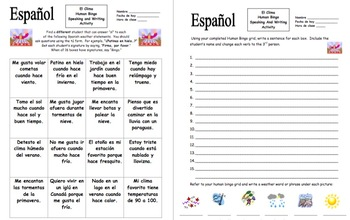 Spanish Weather Human Bingo Game Speaking Activity and Follow-Up