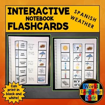 Spanish Weather Interactive Notebook Flashcards, El tiempo