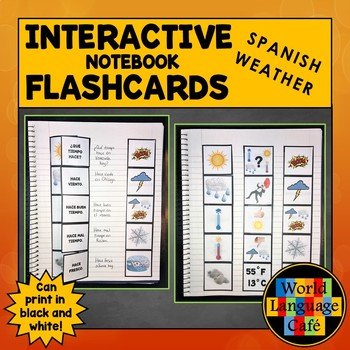 Spanish Weather Flashcards, Interactive Notebook Flashcards, El tiempo