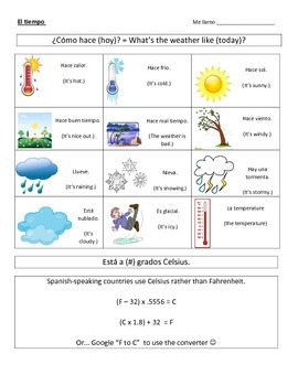 Spanish Weather Notes & Practice