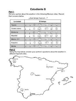 Spanish Weather Partner Speaking Activity