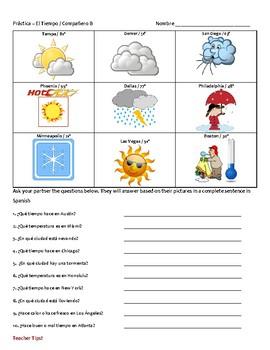 Spanish Weather Partner Speaking Practice