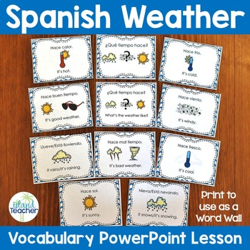 Spanish Weather PowerPoint Lesson/Word Wall and Vocabulary Lists
