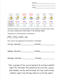 Spanish Weather Report With Celsius to Fahrenheit Conversion Worksheet