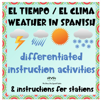 Spanish Weather Tiempo Clima Unit Differentiated Instruction