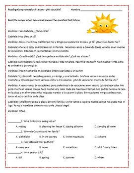 Spanish Weather / Vacation Reading Comprehension Practice