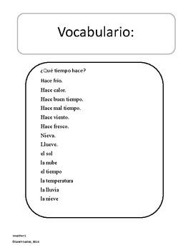 Spanish Weather Vocabulary Puzzle / El Clima / El Tiempo