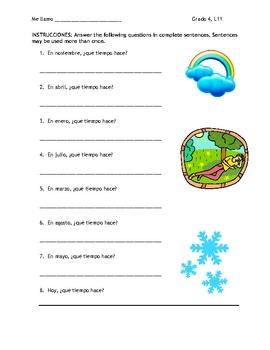 Spanish Weather Vocabulary Sheet & Follow-Up