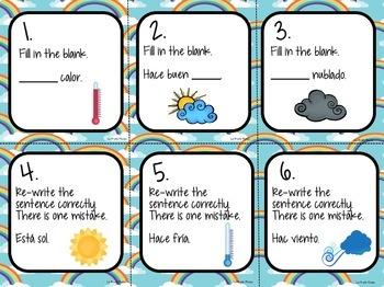 Spanish Weather Vocabulary Task Cards FREEBIE