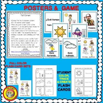 Spanish Weather Words - Posters, flash cards, four corners game