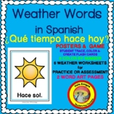 Spanish Weather Words - Posters,flash cards,worksheets, 4 corners game