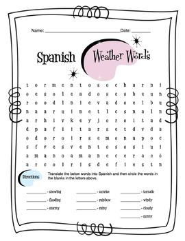 Spanish Weather Words Worksheet Packet