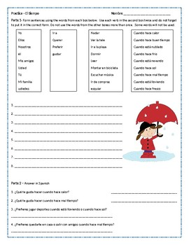 Spanish Weather and Activities Worksheet