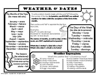 Spanish Weather and Dates Reference (el tiempo, la fecha)