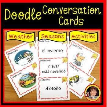 Spanish Weather Worksheets and Cards BUNDLE (Doodle Style)