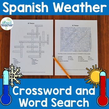 Spanish Weather and Seasons Crossword Puzzle and Word Search