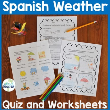Spanish Weather and Seasons Quiz and 2 Worksheets