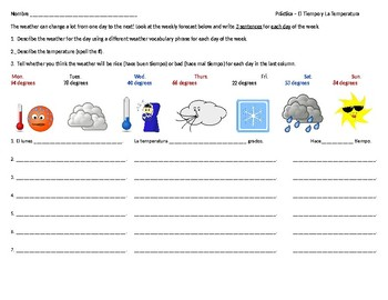 Spanish Weather and Temperature Worksheet