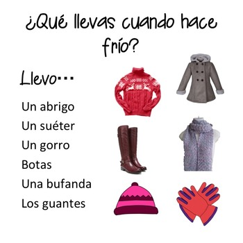 Spanish Weather el tiempo PowerPoint and Interactive Notebook Activity