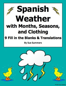 Spanish Weather with Months, Seasons, and Clothing Worksheet
