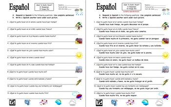 Spanish Weather with Que Te Gusta Hacer Questions Worksheet