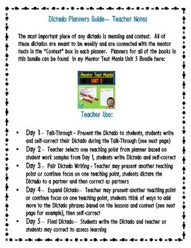 Spanish Weekly Dictado / Dictation Lesson Plans (Mentor Sentence Mania Unit 5)