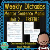Spanish Weekly Dictado Lesson Plans (Mentor Sentence Mania Unit 2) FREEBIE