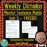 Spanish Weekly Dictado Lesson Plans Unit 3 FREEBIE