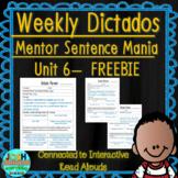 Spanish Weekly Dictado Lesson Plans Unit 6 FREEBIE