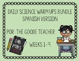 Spanish Weekly Science Warm Ups Weeks 1-9