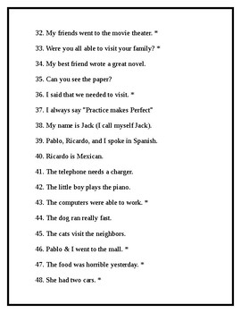 Spanish Weekly Translation Packet: Present & Preterite Sentences