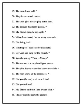 Spanish Weekly Translation Packet: Present & Preterite Sentences